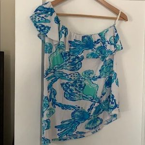 Lilly Pulitzer one shoulder shirt